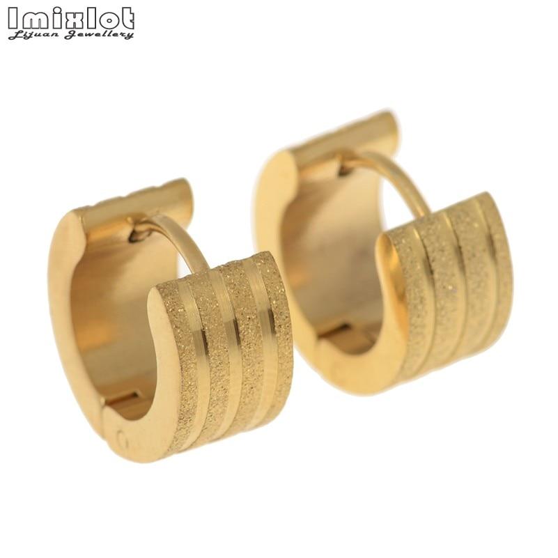 Imixlot Fashion Women And Men Stainless Steel Stud Earrings Gold Color Titanium Steel Jewelry SteamPunk Scrub Male Earrings