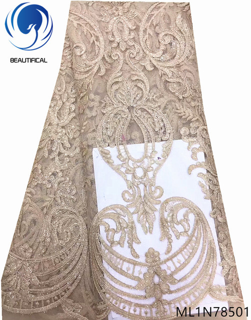 Beautifical net lace fabrics french african quality lace fabric african 5 yards/lot for women bridal lace fabric nigeria ML1N785