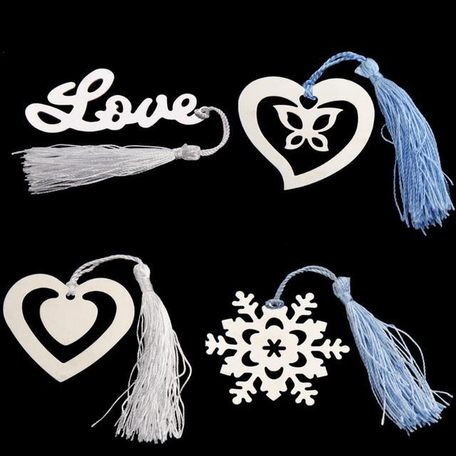 stainless steel tassel bookmark wedding favors bridal shower bridesmaid gifts heart love snowflake shaped metal book