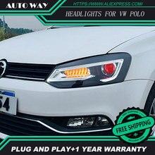 Автомобильный Стайлинг для VW POLO фары 2011- для polo фары передние Биксеноновые линзы двойной луч HID комплект