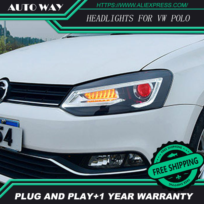 Car Styling For VW POLO headlights 2011-2018 For polo head lamp front Bi-Xenon Lens Double Beam HID KIT 2pcs car style led headlights for vw polo 2011 2017 for vw polo head lamp lens double beam h7 hid xenon bi xenon lens