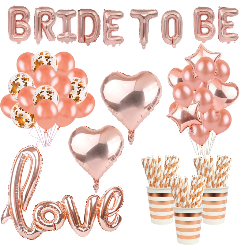 Bride Party Rose Gold Party Decoration Balloons Tableware Anniversary Hen Party Decorations Wedding Bachelorette Party Supplies