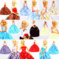 30 Items /  Dress + Hangers + Shoes Handmade Doll Gown Dress Clothing For Barbie Kurhn Doll Free shipping Different Color Styles