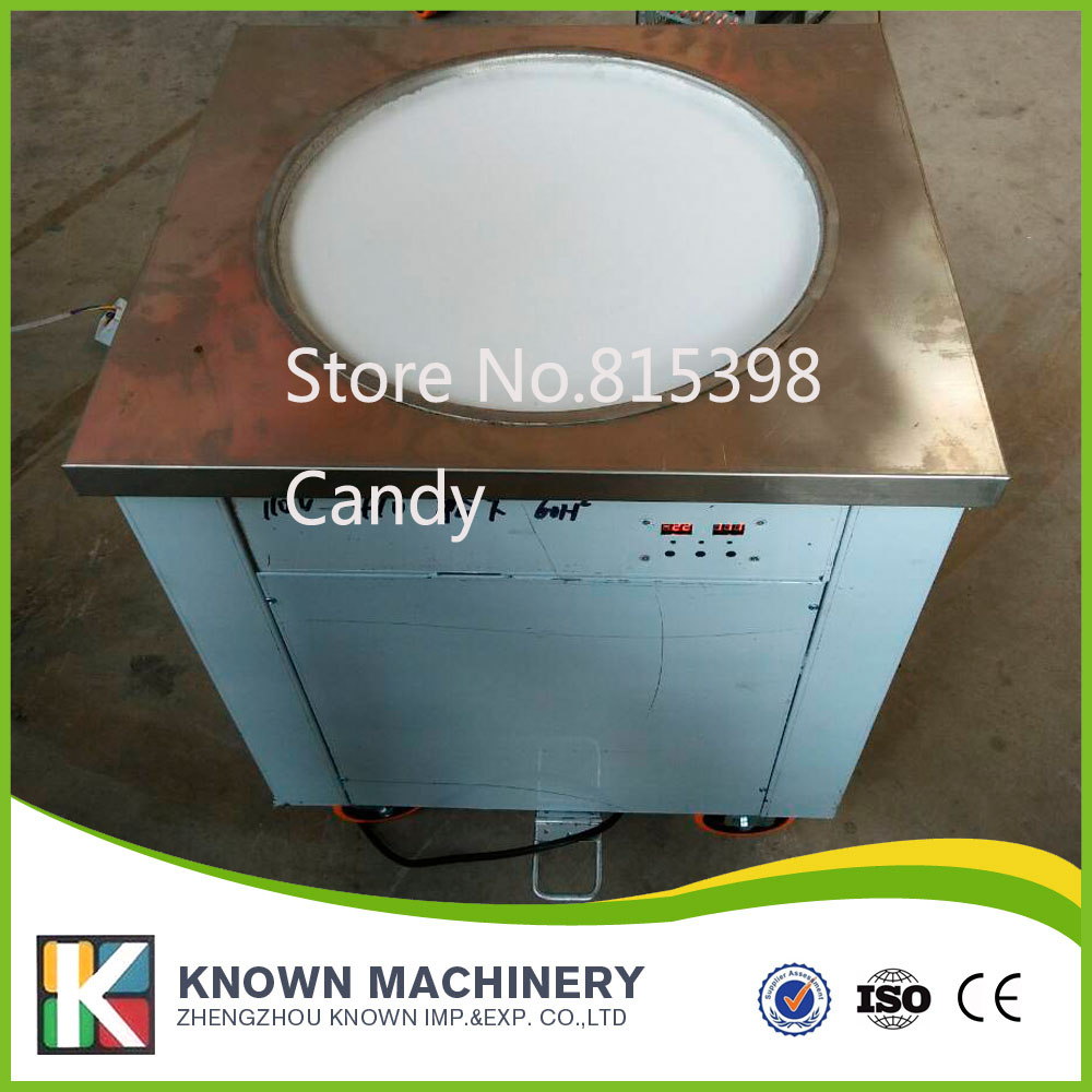 Stainless Steel Fried Ice Cream Machine Single Pan Freezer ice pan machine with defrost for Yummy Ice Cream Rolls Making frying ice cream pan machine for sale with fried ice rolls use ice cream powder and milk