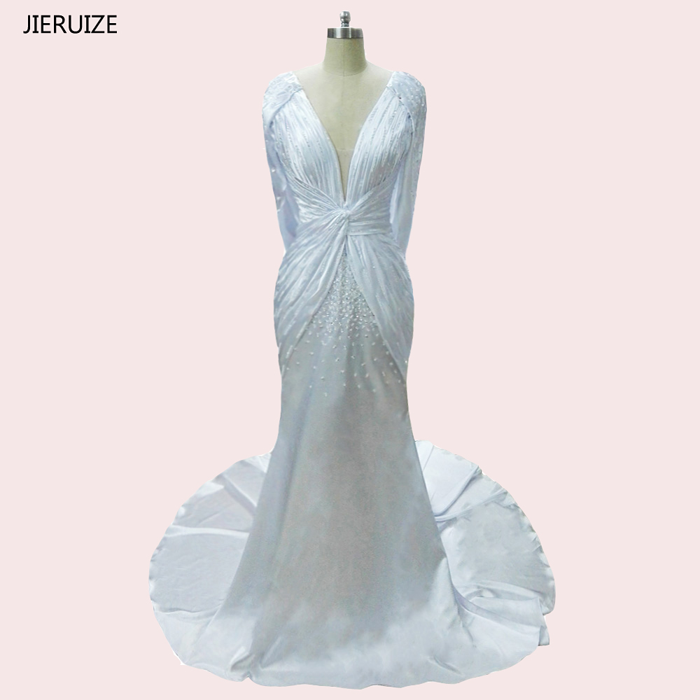 Weddings & Events Jieruize White Satin Beaded Mermaid Evening Dresses Long Deep V-neck Sexy Prom Dresses Formal Dresses Robe De Soiree