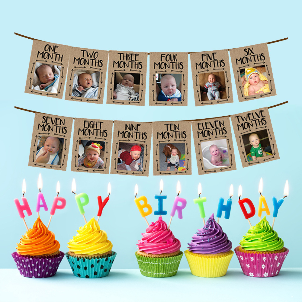 Banner 12 Month Photo Banners Wild One Birthday Ban Baby S 1st Birthday Decorations Party Banners Bunting Garlands
