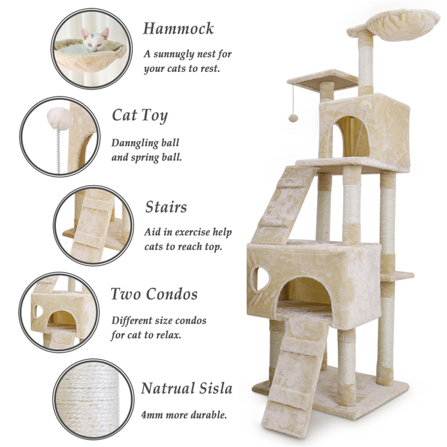Fast Delivery Large Cat Scratching Furniture Cat Jump At Home Wooden Funny Training Cat Tree With Stairs Height  Cat Toys