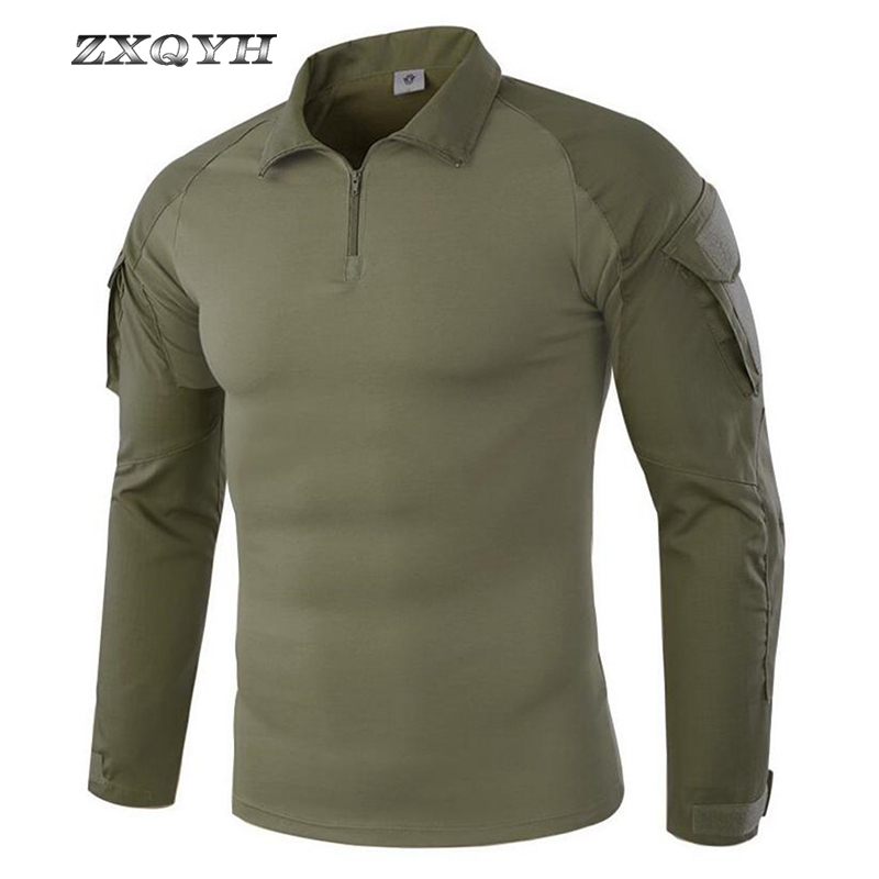 ZXQYH Men Combat Training Long Sleeve Tactical T-Shirts Army Camping Breathable T-shirts Military Tactical Uniform Tops T-shirts
