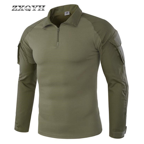 ZXQYH Men Combat Training Long Sleeve Tactical T-Shirts Army Camping Breathable T-shirts Military Tactical Uniform Tops T-shirts Pakistan