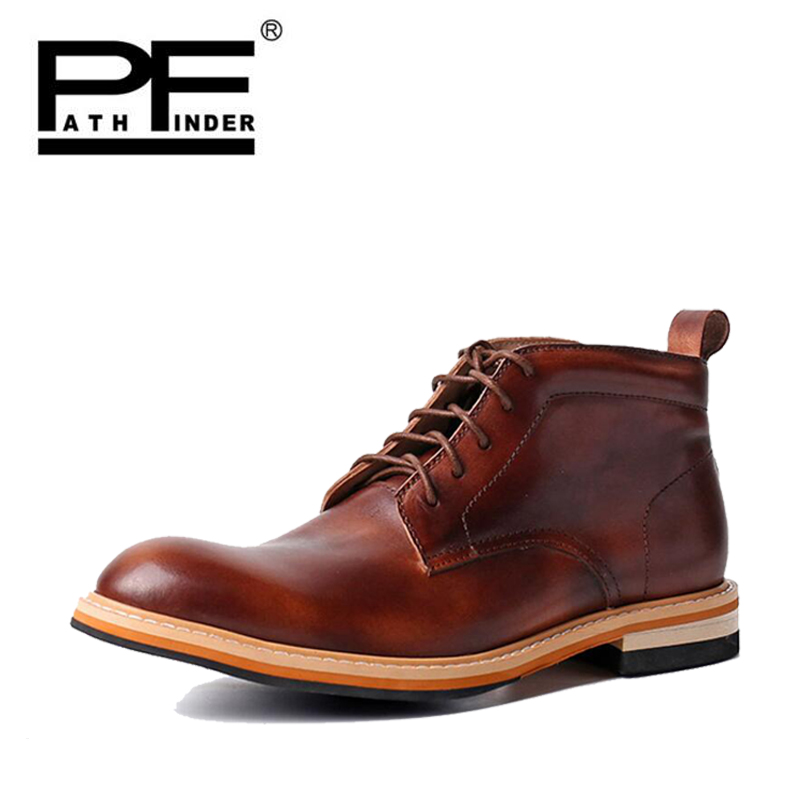 Pathfind Men Genuine Leather winter ankle Boots Chelsea Motorcycle Tooling Outdoor Formal Dress Up Shoes Western Botas Bottines pathfind women genuine leather ankle boots zapatos mujer handmade martin timber shoes tooling 2018 womens outdoor western botas