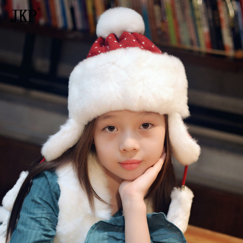 JKP 2018 new the autumn and winter warm baby genuine rex rabbit fur hat parent-child thickening cute Ear protection cap HT-04