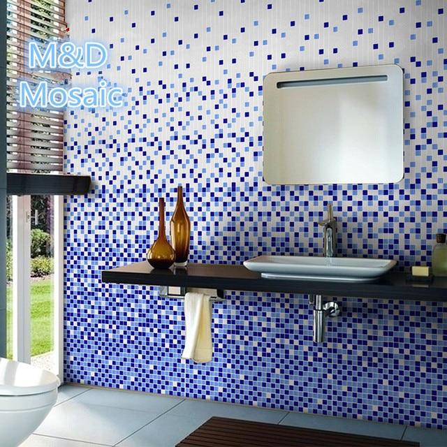 Changement Progressif Bleu Blanc Mosaïque TileMD GCBSwimming - Salle de bain mosaique bleu