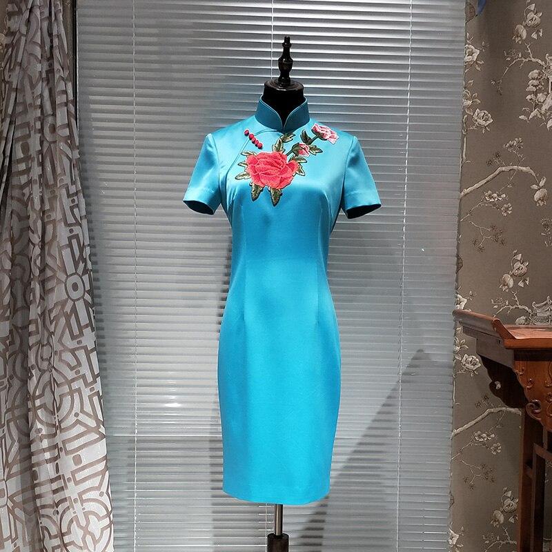 Nouveau Style Blue Gamme Chinois De Broderie Bleu Courtes Avec Manches Col Mandarin Haut Élégantes Robes Femmes Robe D'été FgIxEqwg