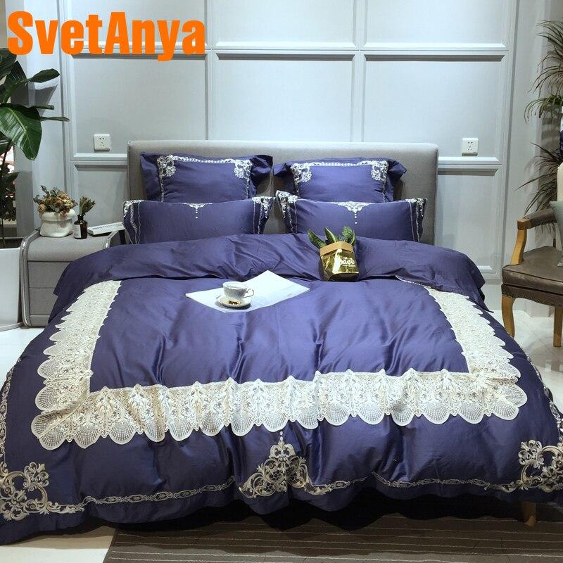 Svetanya Lace Embroidery Bedding Sets Queen King Size Bedlinen 100 egyptian Cotton ( Sheet Pillowcase Quilt Cover Set )