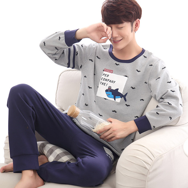 2016 autumn hot men pajama sets cotton full sleeve pyjamas male cotton sleepwear casual soft home wear freeshipping