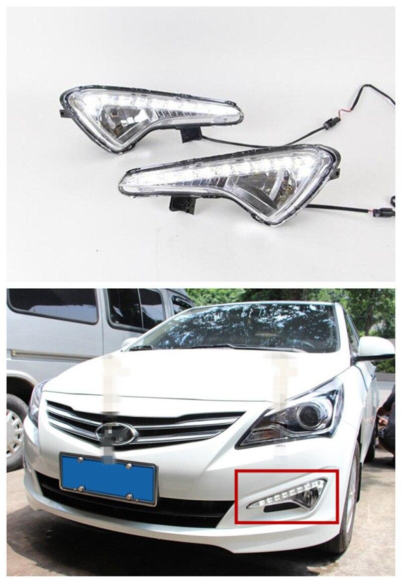 12V Car Styling LED DRL For Hyundai VERNA LED DRL Daytime Running Lights Fog Lamp Case