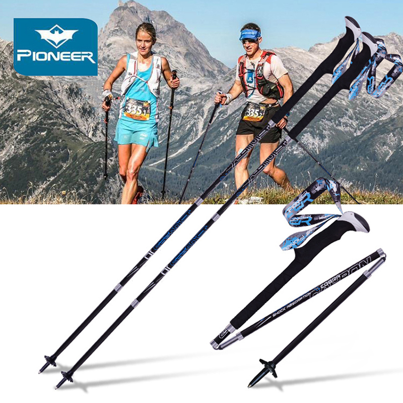 2Pcs lot Pioneer Folding Hiking Stick Carbon Walking Poles Ultralight Cane Camping Climbing Trekking Poles Nordic