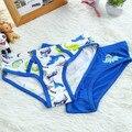 2 pçs/lote branco + azul de algodão crianças meninos crianças cueca cuecas desenhos animados cuecas do bebê calcinha meninos cueca verão