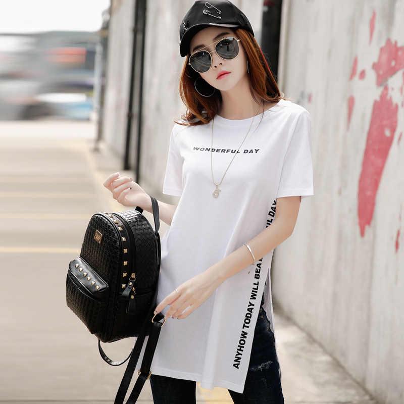 e54d38c1148bb ... Новая стильная длинная футболка женская модная футболка с разрезом  сбоку женская летняя 2019 буквенная черная белая ...