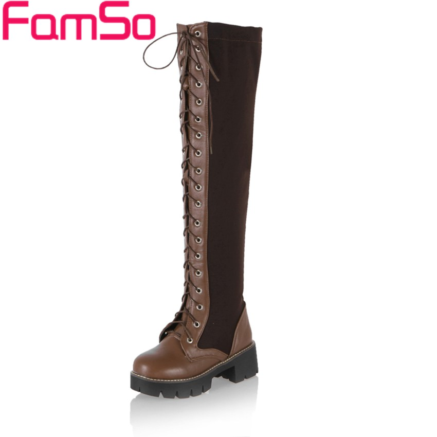 ФОТО Big Size 34-43 2017 New Arrival Women's Boots Europe Autumn Knee High Boots Winter Add fur Snow Boots  ZWB3663