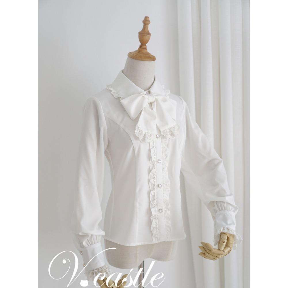 <font><b>Lolita</b></font> Chiffon Shirt with Removeable Bowknot Women Girls Black White Chiffon Blusas Bottoming Undershirt <font><b>Lolita</b></font> Blouse Sweet image