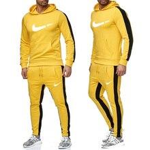 Новый 2019 Марка Спортивный костюм мужчины термобелье Мужская спортивная одежда Флис Толстая толстов