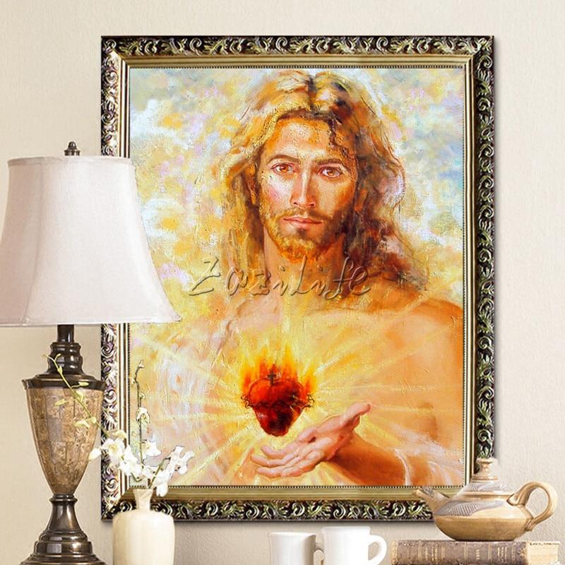 Pamja e shtypur e Jezu Krishtit Pamja e Shenjtë e Zemrës së Shenjtë dhe Shtypni Giclee On Canvas fotografi arti në mur për dekor të shtëpisë së dhomës së ndenjes01