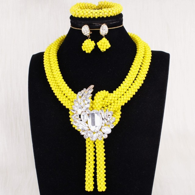 Crystal Bridal Jewellery Set Gold Yellow Costume Jewelry 100% Handmade African Necklace Set For Black Women Free Shipping 2019