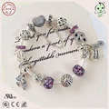 High Quality Luxuxious Brand Silver Jewelry Gift  DIY Purple Silver Charm Series 100% 925 Sterling Silver Heart Charms Bracelet
