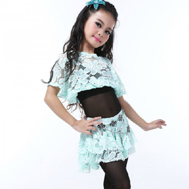 new arrival 2pcs tops skirts children dancing outfits girl
