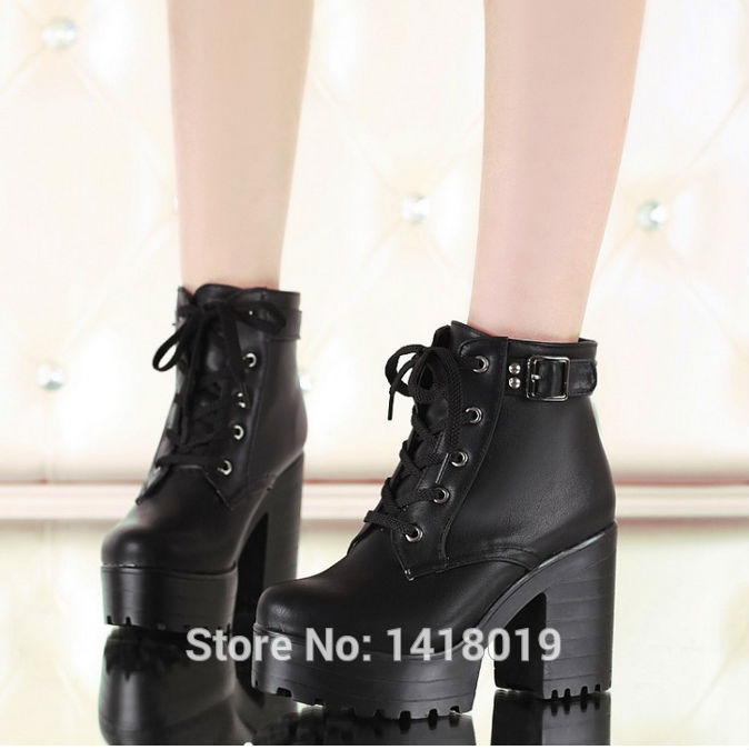 328a8e4b1f8 NEW HOT Womens Punk Chunky Heel Platform lace Up Buckle Strap Ankle Boot  Shoes black white beige big yard size 34~43-in Ankle Boots from Shoes on ...