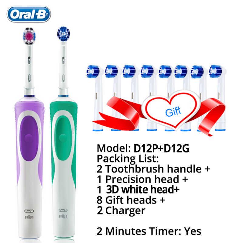 عن طريق الفم B حيوية فرشاة الأسنان الكهربائية قابلة للشحن فرشاة أسنان رؤساء 3D الأبيض 2 دقائق الموقت + 4 هدية استبدال رئيس شحن مجاني