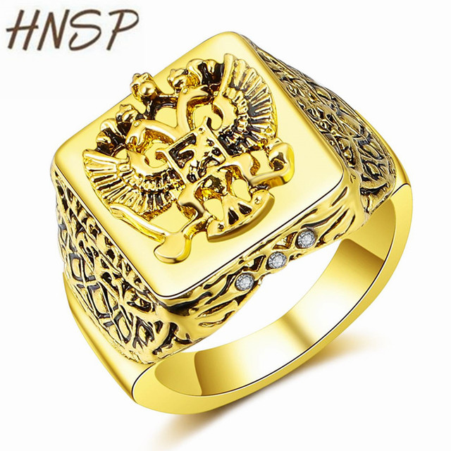 HNSP Fashion Russian Empire Double Eagle Gold Color Finger Ring For Men Male Jew