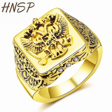 HNSP Vintage Russian National Emblem Square Eagle Pattern Gold Finger Ring For Men Male Animal Jewelry