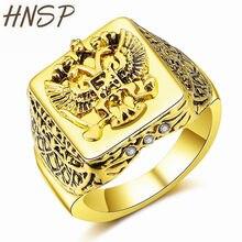 8802e0f6ca HNSP Vintage Russo Emblema Nazionale Quadrato Aquila Modello In Oro Anello  di Barretta Per Gli Uomini di Sesso Maschile Animale .