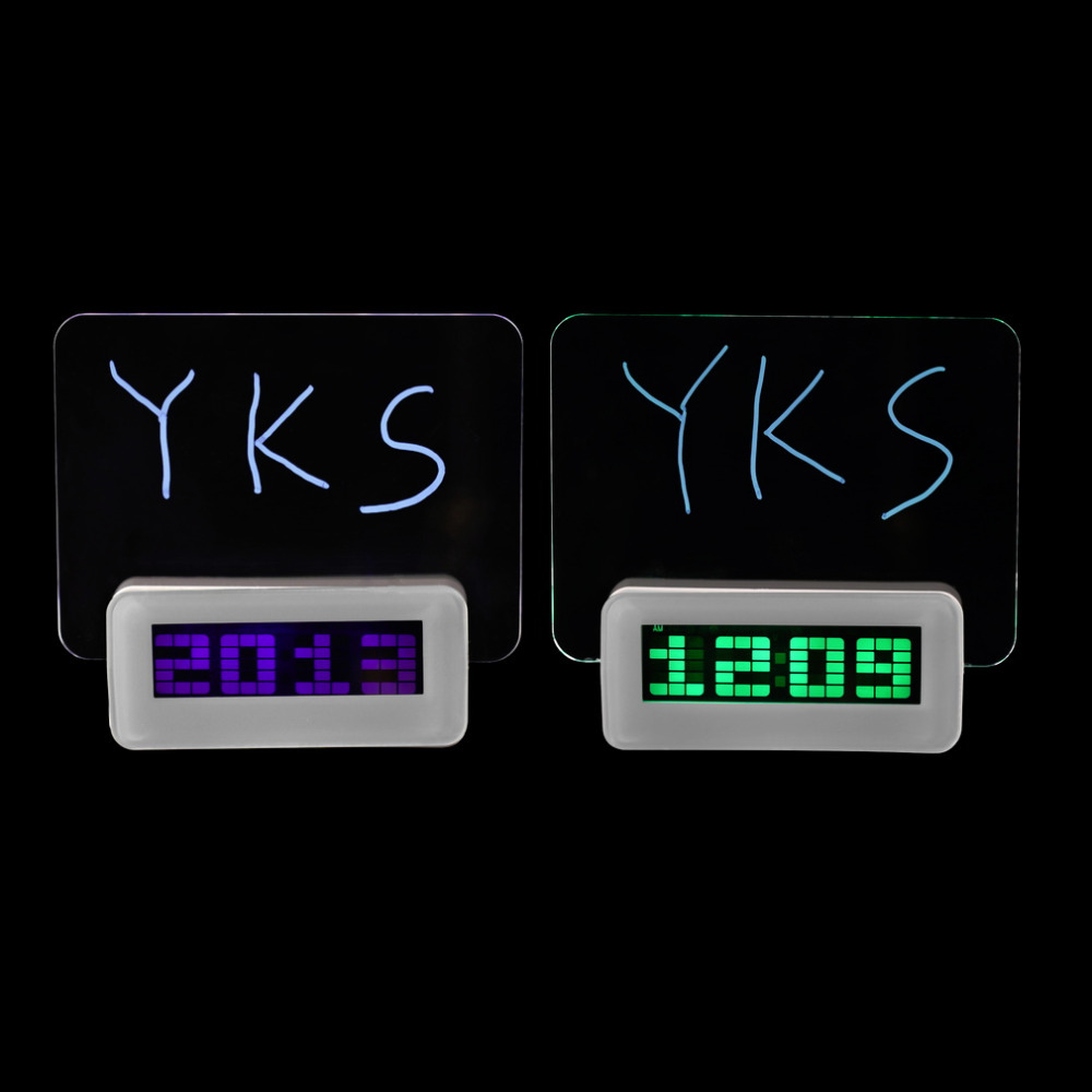 2017 Top Quality Luminova LED Digital Clock led Luminous Message Board Alarm Clock With Calendar, Desktop Clocks New Arrival