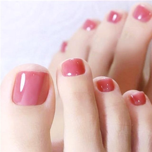 Sweet Jelly Pink Girls Sweet Full Fake Toenail Tips 24pcs Natural Solid Color Acrylic Short False Toe Nail With Glue Beauty Tool
