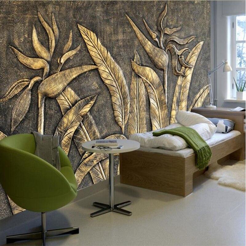 Gold Bird Wallpaper of Paradise Sculpture Home Decor Bedroom Photo Mural Wallpaper Living Room Wall Decor Paper Wallpaper Design
