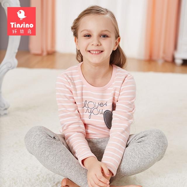 3c03559e5e7e Tinsino Girls Winter Pajama Sets Children Girl Thick Autumn Pajamas Kids  Girls Stripes Sleepwear Girls Warm Long Johns Sets