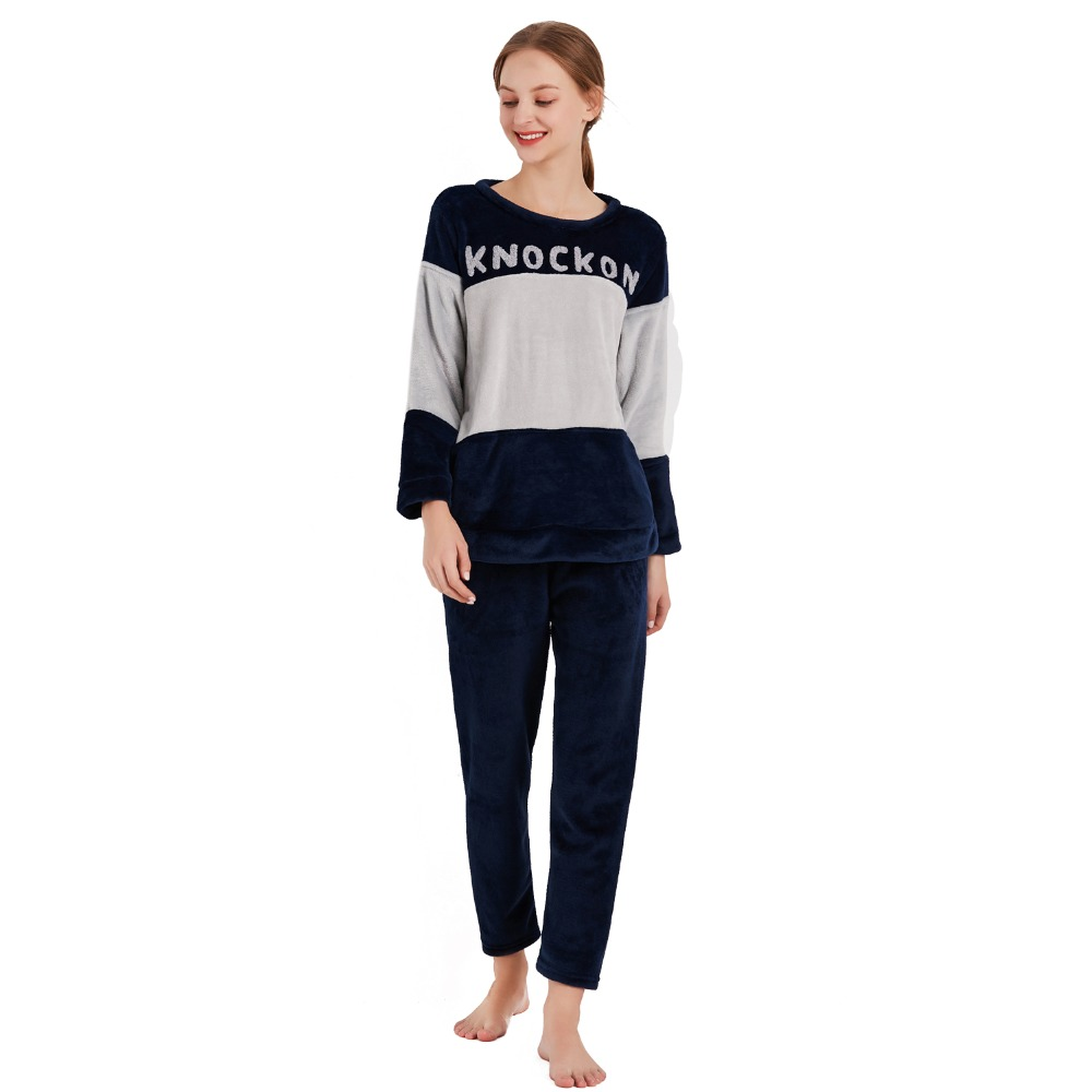 Cartoon Panda and Letter Pajama Sets Sleepwear Women Winter Flannel Plus Size Full Length Warm Party Pyjamas Sleepwear For Women 82