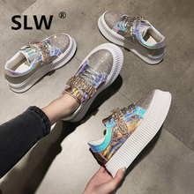 new platform Casual fashion 2019 Bling Sequined Cloth Hook & Loop Lace-Up Rubber Round Toe Basic Crystal Cross-tied Flat