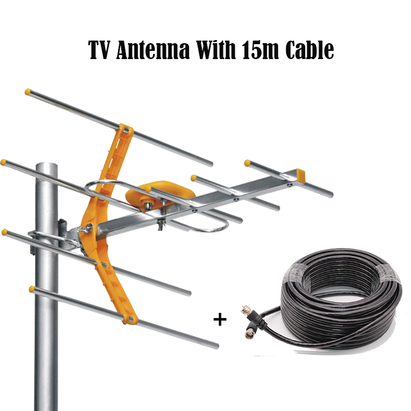 HD Digital TV Antenna With 15m Cable For HDTV DVBT/DVBT2 470MHz-860MHz Outdoor TV Antenna Digital Amplified HDTV Antenna