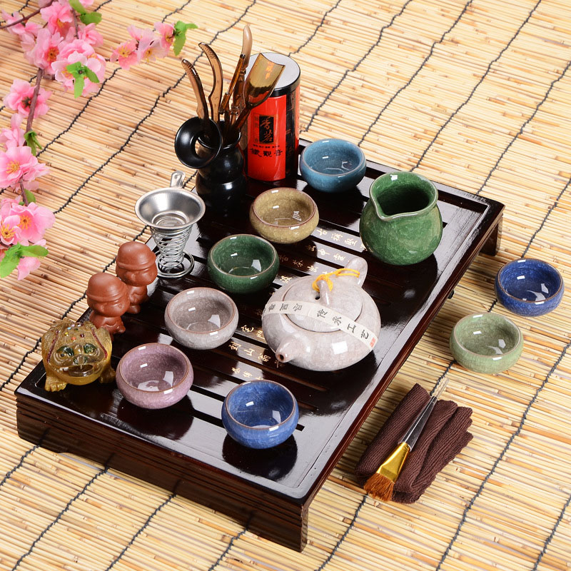 Offres spéciales idée cadeau fête des pères ensemble de thé Kung Fu boisson cérémonie de thé chinois avec Table à thé sur huit pièces ensemble cadeau haut de gamme