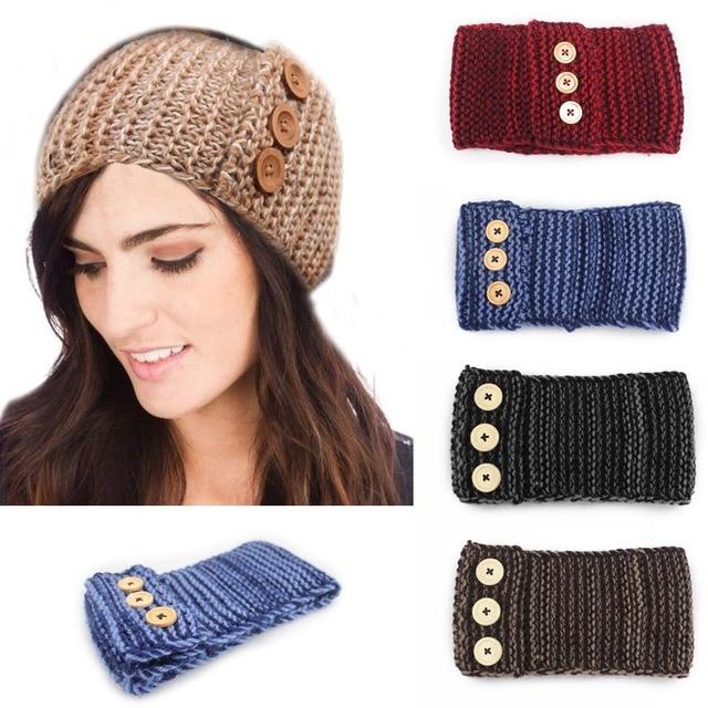 Hand Knit Womans Button Headband Flapper Style Head Band Ear