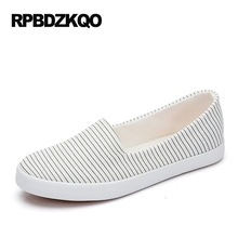 Striped Breathable Platform Korean Rubber Sole Large Size Flats White Wide Fit Shoes Ladies Women Slip On Round Toe Canvas 9