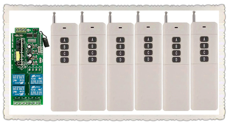 6pcs Long Transmitter AC85v~250V 110V 230V 4CH Wireless Remote Control Switch 220V Relay Output Radio RF Transmitter Receiver