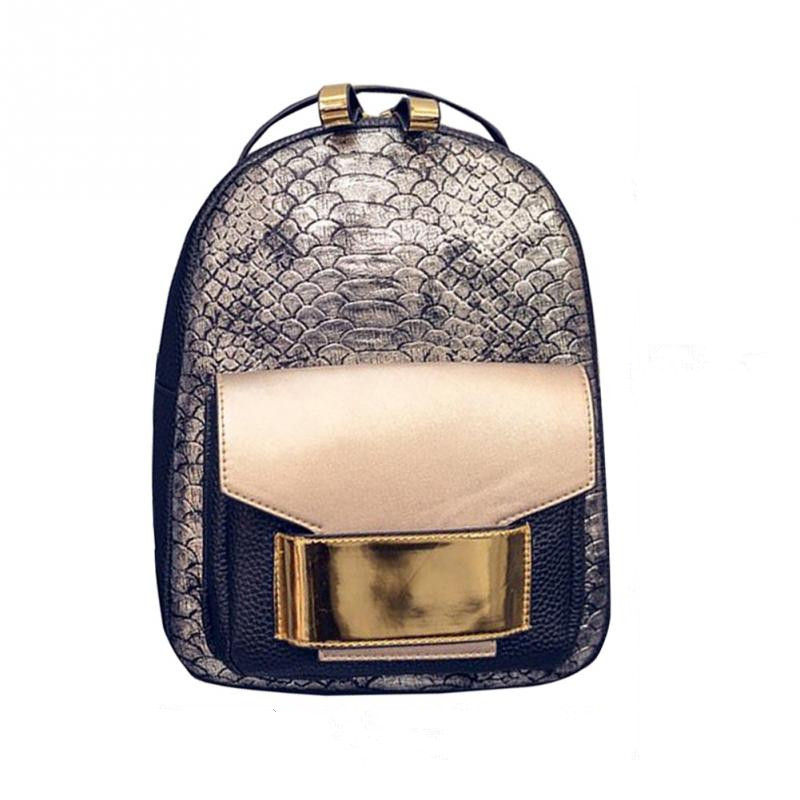 c1403da040b תרמילים - Snake Grain PU Leather Women Backpack 2018 New Female Fashion  Rucksack Brand Designer Ladies Back Bag High Quality School Bag