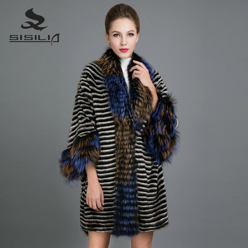 SISILIA 2017 Customizable Mink Fur Bat type Coats Women Winter Fur Coats Luxury Fox Fur Stylish Rex Rabbit Fur Jackets For Femal