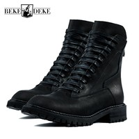 Spring Fashion Men Genuine Leather Motor Biker Military Boots Rock Lace Up High Top Army Antiskid Platform Footwear Male Shoes