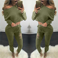 2016 fall autumn woman set 2 piece sets women long pants and crop top tshirts ensemble femme loose slim long sleeve solid
